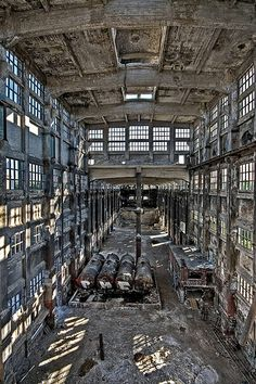 The Huge Hall of the abandoned chemical factory of Rudersdorf, Berlin, Germany.