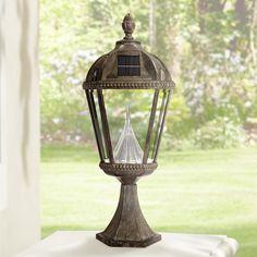 "Royal Solar Dusk to Dawn 23""H Bronze LED Outdoor Post Light"