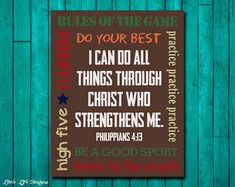Please read entire description before purchase :)  I can do all things through Christ who strengthens me. Philippians 4:13, sports sign. Rules of the game.  This printable is perfect for that boy in your life. Great for a play room, childs room, or baby boy nursery :)  OPTIONS: This high resolution instant download printable comes in the 8 x 10, 11 x 14, and 16 x 20 sizes.  DELIVERY & PRINTING: Little Life Designs instant download printables are high resolution digital .jpg files. Once the…