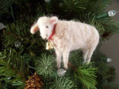 White lamb  Wool Needle felted  sheep with bell by woolinlegends