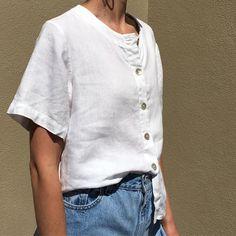 86aeba3bdc Na Nin Vintage ( naninvintage) Vintage white linen box blouse that buttons  up Hippie
