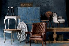 RLH Drab Coloured Table, Writing Table,   Butler's Stool, Colonial Document Box,   Jelly Cupboard, Wood Chair with Handle,   Louis XVI Bergere, English Refectory Table,  Mercantile Basket, & Victorian High   Back Club Chair   #RLHCollection