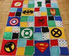 Superhero Rag Quilt / Blanket  Crib Size by handmadebykep on Etsy