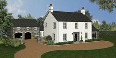 Site 1 - New Farm Style Dwelling, Chapel Road, Upper Ballinderry Farmhouse Renovation, Modern Farmhouse Exterior, Farmhouse Contemporary, House Designs Ireland, Square House Plans, House Plans South Africa, House Cladding, House Front Design, Georgian Homes