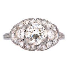 1stdibs | Art Deco Platinum Engagement Ring with .93 carat Diamond Center