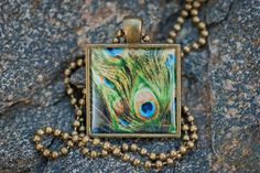 Peacock Feathers  1 inch square pendant by AutumnMoonBoutique, $22.00