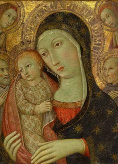 Sano di Pietro, aka Ansano di Pietro di Mencio (1405-1481) —  Madonna and Child with Saint Bernardino of Siena, a Male Saint and Two Angels   (577x800)