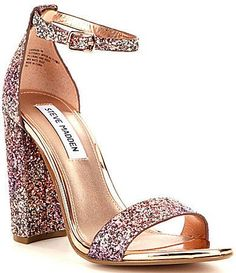 b4fb09e7effe Enchant them with your dance moves and the Adira Champagne Glitter Ankle  Strap Heels! Chunky glitter embellishes the toe strap and adjustable ankle  strap ...