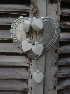 ~ Tin Embossed Heart w/ Wood Hearts ~ Wish there were instructions or where to purchase to go along w/ this....