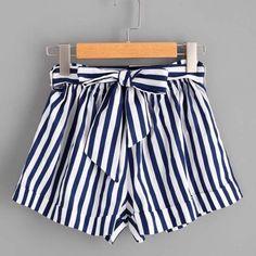 4fb7ba88d166 Women s Casual Vertical Striped Elastic Tie Front Shorts – 105 Hillside Summer  Shorts