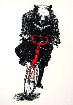 Bear on a Bike Screenprint Nick Morley