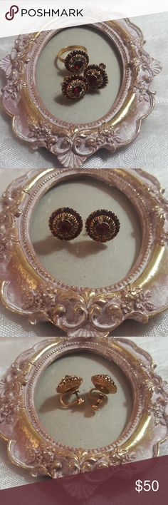"""Vintage screw back earring and matching ring set True vintage high quality costume jewelry Sunburst style faux garnet and rhinestone with gold findings Marked on inside of ring """"1/30 14k R G P"""" ring is about a size 6 Perfect to complete any vintage or period style dress Sad to part with this gorgeous set, but theyve been sitting in a drawer and deserve to be adored. 🍁offers encouraged and bundle instead of like for a private offer 🍁 Vintage Jewelry Earrings"""