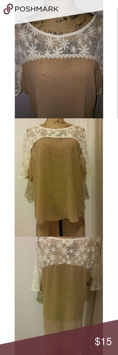 Gorgeous daisy hi/lo top🌼 Preloved sheer daisy hi/lo top in perfect shape!! Gorgeous cream & taupe colors. Non smoking home. Save 20% by bundling 2 or more items. Happy poshing! umgee Tops