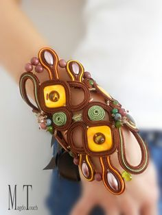 'Fall in love with spring' ooak soutache bracelet, artistic bracelet, jewelry artwork, statement bracelet, original design, brown bracelet