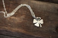 Luck Sterling Silver Four Leaf Clover Necklace by LoveErica, $26.00