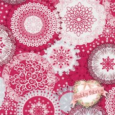 "Season's Elegance 2051-88 Cranberry Ornate Snowflakes By Studio E Fabrics: Season's Elegance is a collection by Studio E Fabrics.  100% cotton.  43/44"" wide.  This fabric features a variety of white doily like snowflakes on a red background."