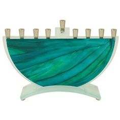 Green Glass Menorah Product - The Jewish Museum Shops
