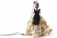 French Purple Doll Pendant Necklace By Edora