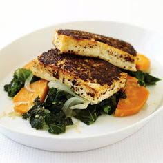 Mustard-Crusted Tofu with Kale and Sweet Potato recipe on Food52