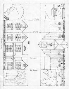 Printable Christmas Village Farmhouse and Barn.