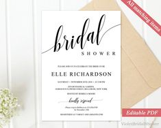 Black And Gold Bridal Shower Invitation Template Printable Bridal