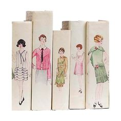 E. Lawrence Set Of Five Hand Bound Book Covers Featuring Drawings from 1930s Clothing Patterns @jdouglas