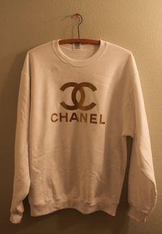 gold print chanel logo jumper on Wanelo a3c68e515