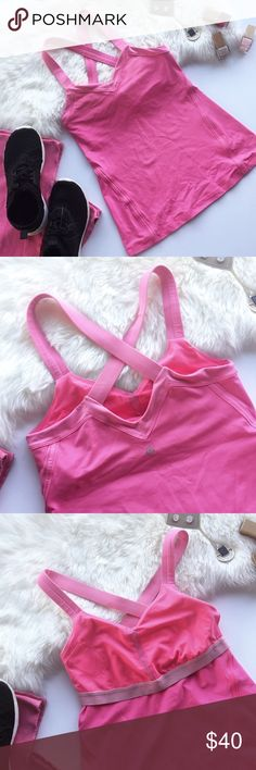 - LULULEMON - Pink Cross Strap Workout Tank Crush your New Years resolutions at the gym in this gorgeous v-neck cross strap lululemon tank! Built in bra with key pocket. Excellent pre-loved condition, no flaws. Size 6. 🔸Bundle & Save 20% on 2+ items! 🙅🏼No trades / selling off of Posh. 💗 Offers always welcome! lululemon athletica Tops Tank Tops