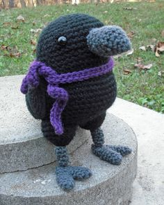 Raven (with Baltimore football team color scarf) - pattern by i-crochet things