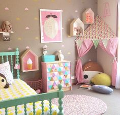 Cute girls room cosy corner bunting