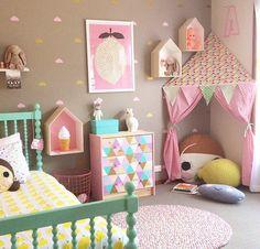 Cute girls room cosy corner bunting