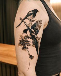 "Tattooist_Ati on Instagram: ""Tow magpie🖤 Whatever is in any way beautiful hath its source of beauty in itself, and is complete in itself. 어떻게든 아름다운 모든 것은 그 안에 미의 원천이…"" Skull, Tattoos, Tatuajes, Tattoo, Tattos, Skulls, Sugar Skull, Tattoo Designs"