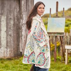 "MYTHIC ALLURE JACKET -- This soft and cozy jacket is breathtaking with rich, allover embroidery. Open front, with two pockets and a hood. Cotton. Dry clean. Imported. Sizes XS (2), S (4 to 6), M (8 to 10), L (12 to 14), XL (16). Approx. 35-1/2""L."