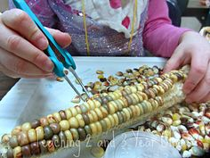 Tweezers and indian corn for fine motor development!