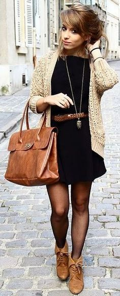 Beige Cable Knit Cardigan with a black dress, tights, brown belt and big bag // Fall Street Style Inspo // Women's Fashion and Style
