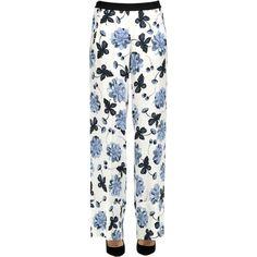 Twin-set  Simona Barbieri Flower Print Viscose Trousers (€115) ❤ liked on Polyvore featuring pants, white elastic waist pants, floral print wide leg pants, white wide leg trousers, white wide leg pants and floral wide leg pants