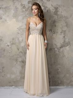 $145 A-Line/Princess Sleeveless Chiffon Spaghetti Straps Beading Floor-Length Dresses - Prom Dresses