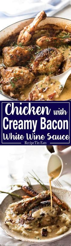 Chicken with Creamy White Wine Sauce and Bacon - So easy to prepare, then just let it braise in the oven until the chicken is tender. The sauce is incredible! http://www.recipetineats.com