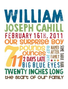 Will's birth stats poster made by the lovely @Leslie Sleesman