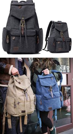 4975687438 Retro Flap Metal Lock Large Capacity Backpack Travel Backpack Canvas Men s  School Rucksack  backpack