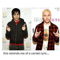 """Baby Seasons change but people don't. << it reminded me of """"growing up, growing up""""<< bAbY sEaSONs cHaNGe BUT pEOPle dOnT Fall Out Boy, Emo Bands, Music Bands, Peter Wentz, Band Memes, Dan And Phil, Pop Punk, Paramore, Green Day"""