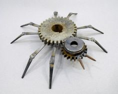 Rustic Welded Metal Spider Folk Art Sculpture made with Found Gears and Other Scrap Metal Objects