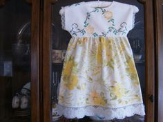 This item is unavailable Vintage Lace, Vintage Dresses, Girls Dresses, Summer Dresses, Lace Doilies, Yellow Dress, Frocks, White Lace, Hemline