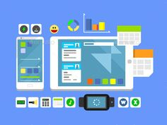 Developing a Mobile App And Layout by kit8 Developing a mobile app and layout. Web technology, interface phone, ui button and menu, flat vector illustration Vector files, fu