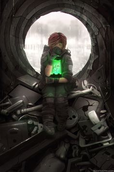 Cyberpunk, Future, Futuristic, Precious by *AlexTooth on deviantART (One plant. That was all that was left. And they had left it too me. That was a mistake) Steampunk, Arte Cyberpunk, Digital Art Gallery, Futuristic Art, Post Apocalypse, Apocalypse Survival, Science Fiction Art, Cybergoth, Story Inspiration