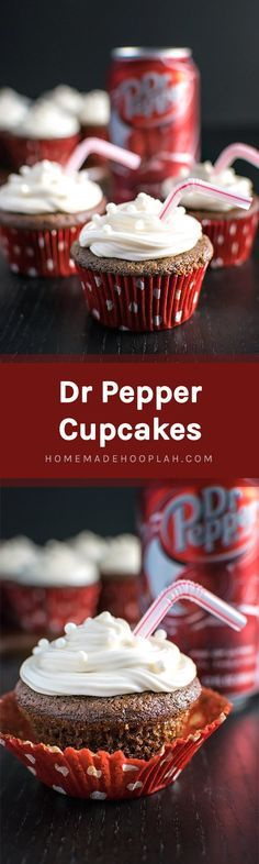 Dr Pepper Cupcakes! Have a Dr Pepper fan in your life? Then they're going to love these! Rich chocolate buttermilk cupcakes with a hint of their favorite fizzy soda. | HomemadeHooplah.com