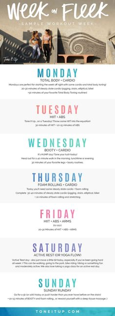 Ever wonder how often you should do cardio or HIIT? For those of you who want a quick snapshot of an ideal week* we've got you! Take a look above for an easy to follow plan. The best part is that it can be customized with your fave routines! Be sure to check Tone It Up every Sunday for your Weekly Schedule! Fitness Workouts, Fitness Motivation, At Home Workouts, Workout Tips, Weekly Workout Schedule, Week Of Workouts, Post Workout, Exercise Schedule, Exercise Plans