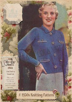 Vintage 1930s Knitting Pattern Lady's Cardigan Jacket With Little Pockets 1940s | eBay