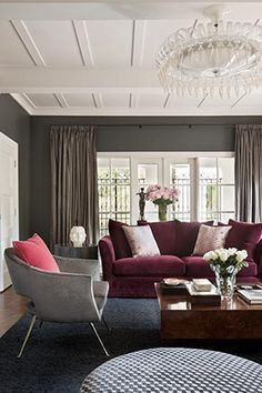 Oooh....never thought plum coloured sofa can look this good too!