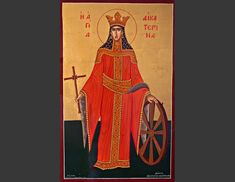 Home :: Greek Orthodox Icons :: Hand painted icons of the Saints :: St. Catherine the Martyr St Catherine Of Alexandria, Paint And Varnishes, Paint Icon, Artist Signatures, Orthodox Icons, Saints, Greek, Hand Painted, Amp